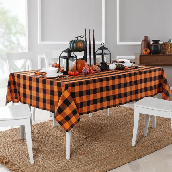 Farmhouse Living Fall Buffalo Check 52 in. W x 70 in. L Black/Orange Tablecloth