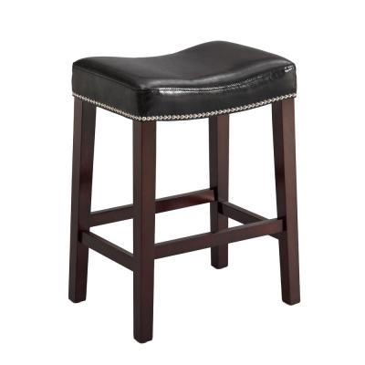 25.8 in. Nadia Black Saddle Stool (Set of 2)