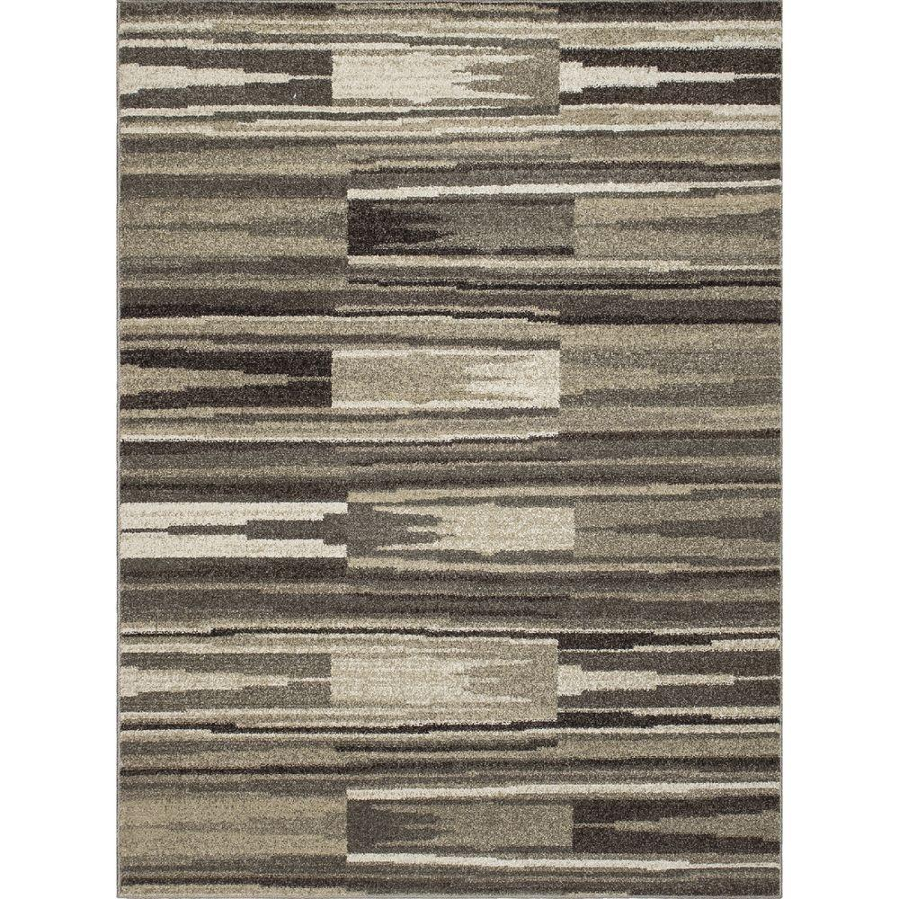 New Casa Patch Stripes Grey 7 ft. 10 in. x 10