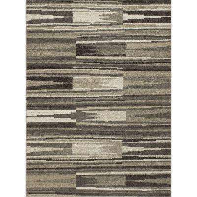 New Casa Patch Stripes Grey 7 ft. 10 in. x 10 ft. 6 in. Area Rug