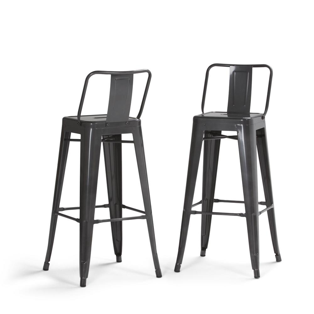 Simpli Home Rayne 30 In Grey Industrial Metal Bar Stool Set Of 2 Axcray30 01 Sl The Home Depot