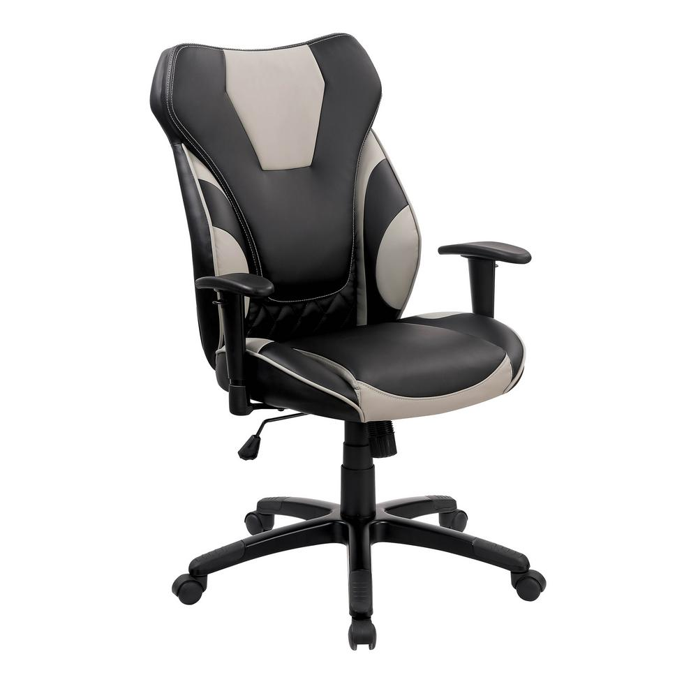 William S Home Furnishing Rhode Contemporary Black Office Chair With Casters And Adjustable Armrests Cm Fc661 The Home Depot