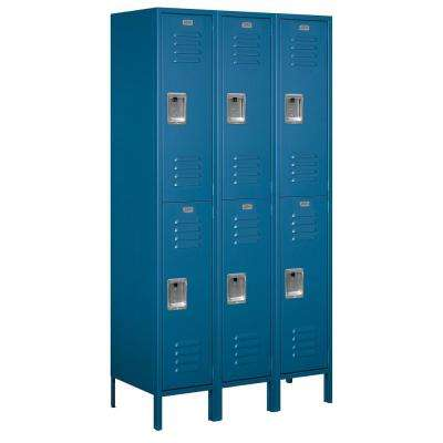 52000 Series 45 in. W x 78 in. H x 18 in. D Double Tier Extra Wide Metal Locker Assembled in Blue