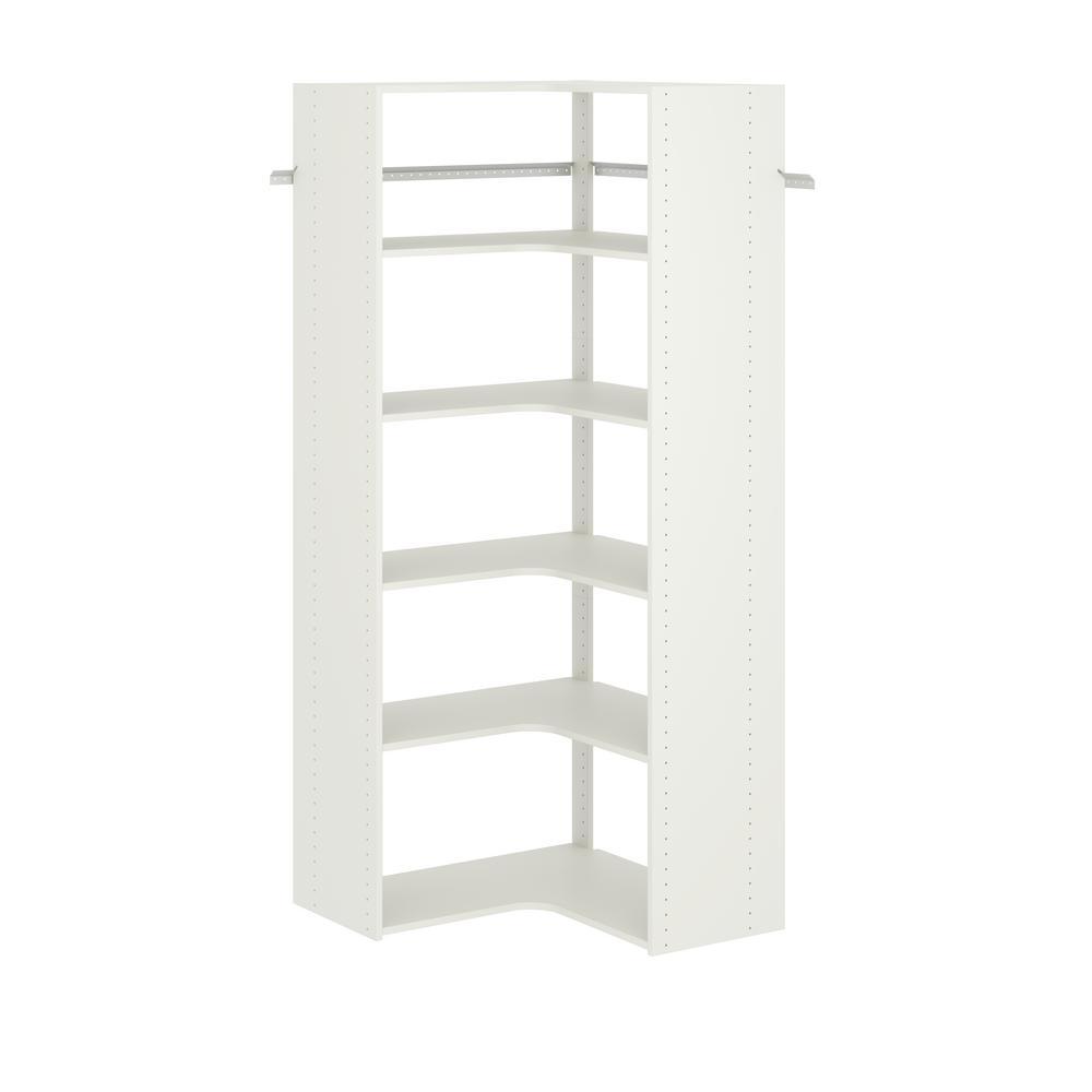 30 in. W White Corner Wood Closet System