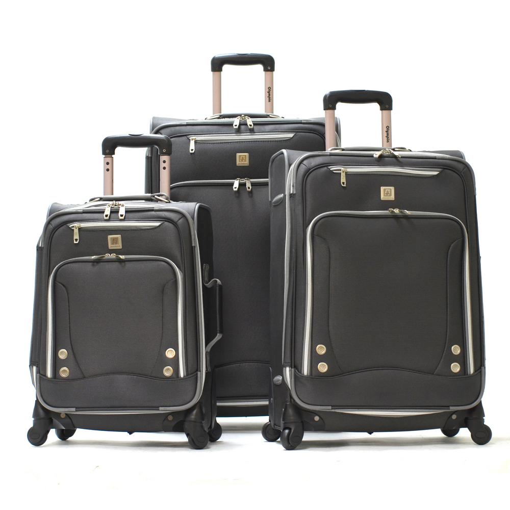 SkyHawks 3-Piece Expandable EVA Spinner Suitcase Set, Black