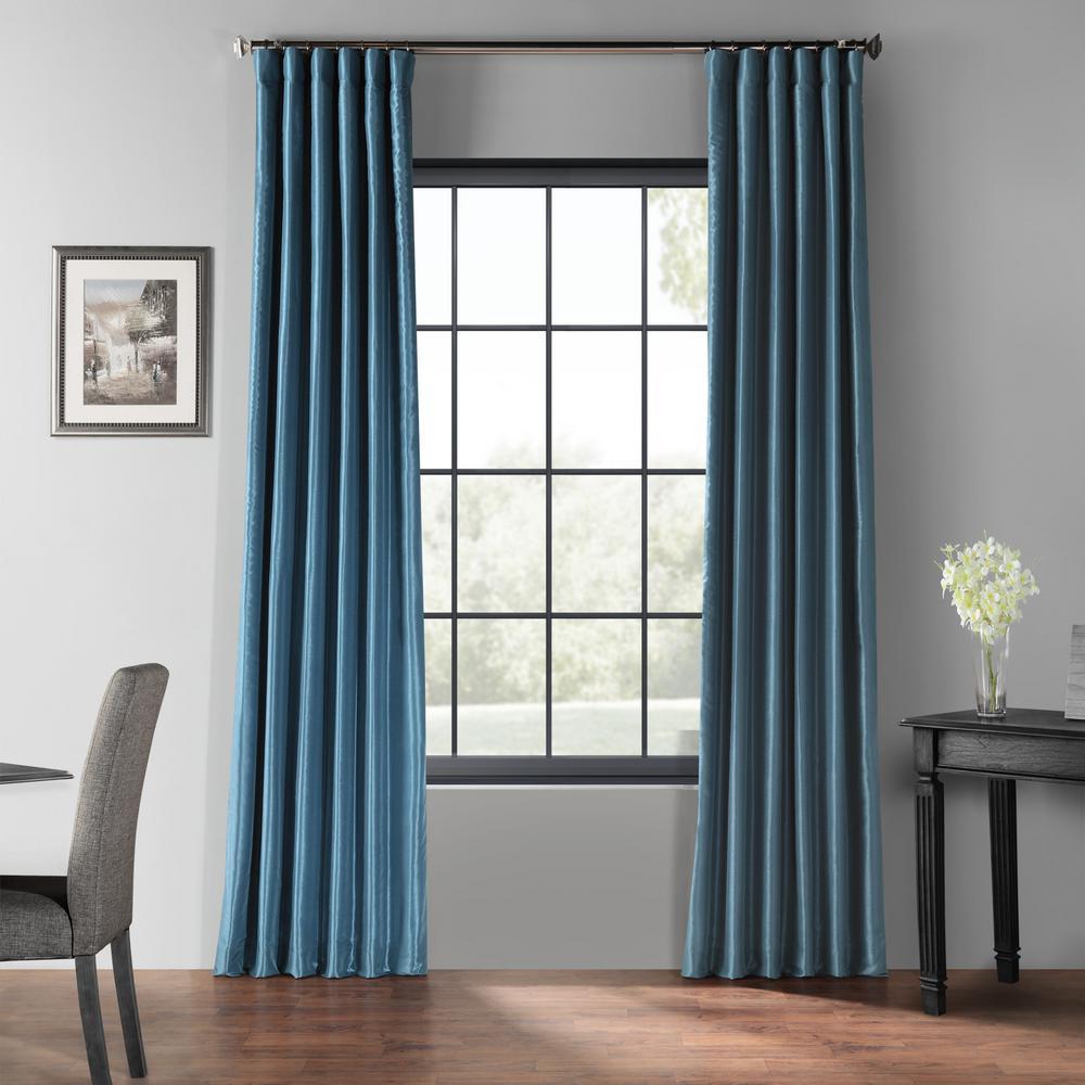 Nassau Blue Blackout Vintage Textured Faux Dupioni Silk Curtain - 50 in. W x 120 in. L