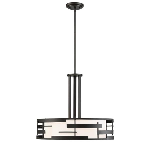 3-Light Textured Black Pendant with White Fabric Shade