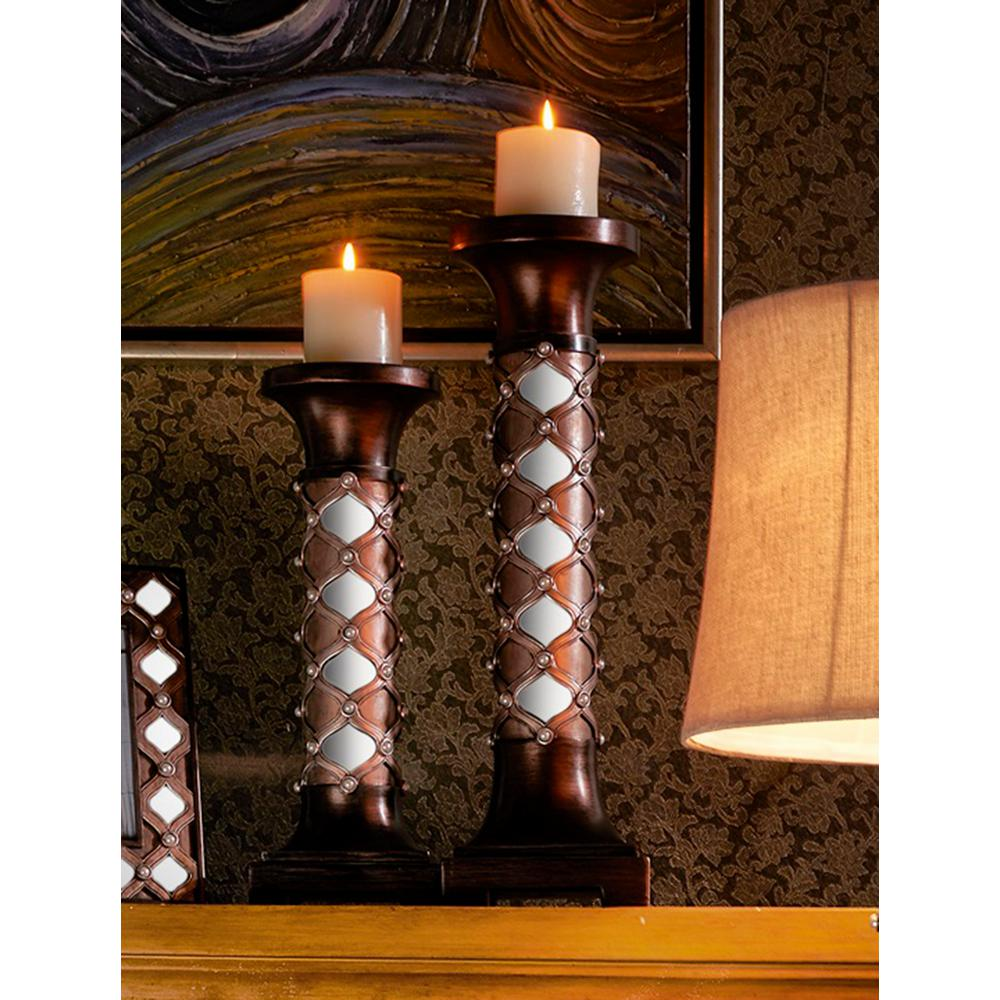 16 in. and 20 in. Arabesque Mirror Brown Candle Holder Set