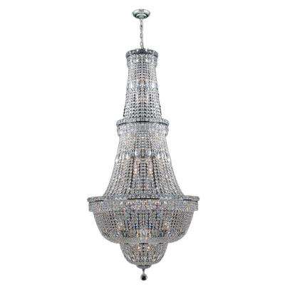 Empire Collection 34-Light Polished Chrome Chandelier with Clear Crystal