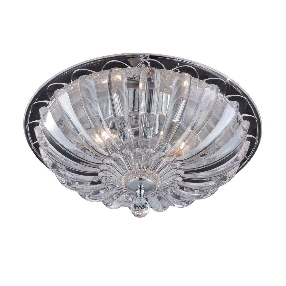 Hampton Bay Vintage Collection 15 75 In 3 Light Chrome Flushmount With Gl Shade