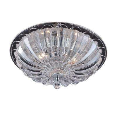 Vintage Collection 15.75 in. 3-Light Chrome Flush Mount with Glass Shade