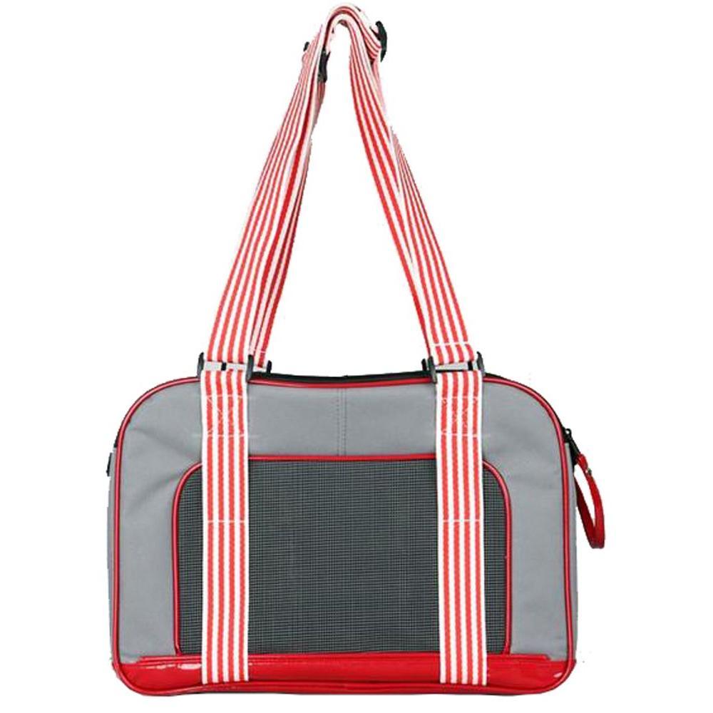Grey Candy Cane Fashion Pet Carrier - Medium