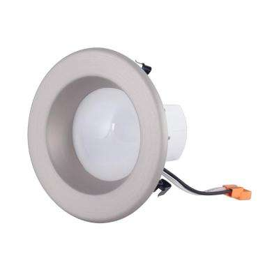 4 in. Brushed Nickel Integrated LED Recessed Ceiling Light with Trim Ring, 4000K, 96 CRI