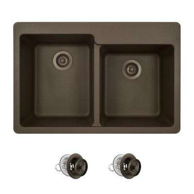 All-in-One Drop-in Granite Composite 33 in. 4-Hole Offset Double Bowl Kitchen Sink in Mocha
