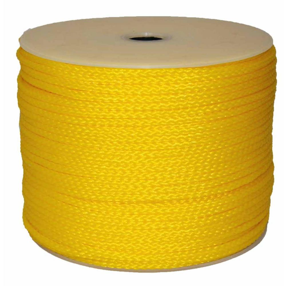 T W  Evans Cordage 5/16 in  x 1000 ft  Hollow Braid Polypro Rope in Yellow