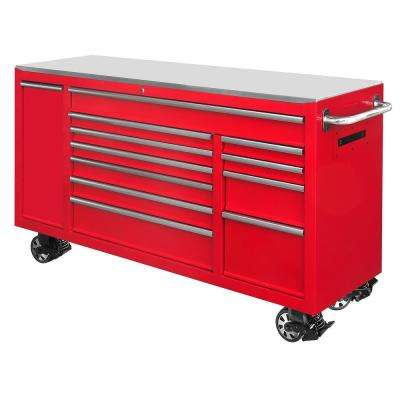 72 in. 12-Drawer Tool Chest Cabinet in Red