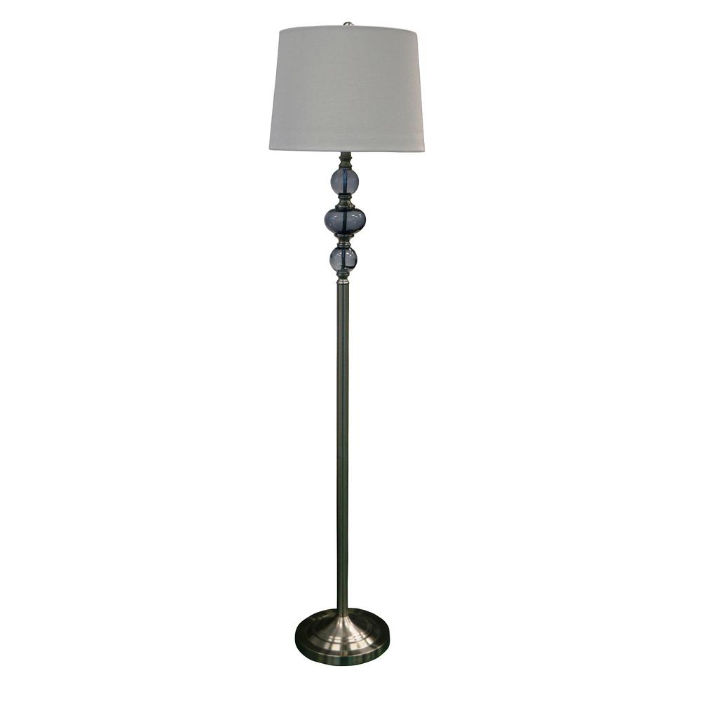 Fangio Lighting 61 5 In Contemporary Stacked Brushed Steel And Smoke Gl Floor Lamp