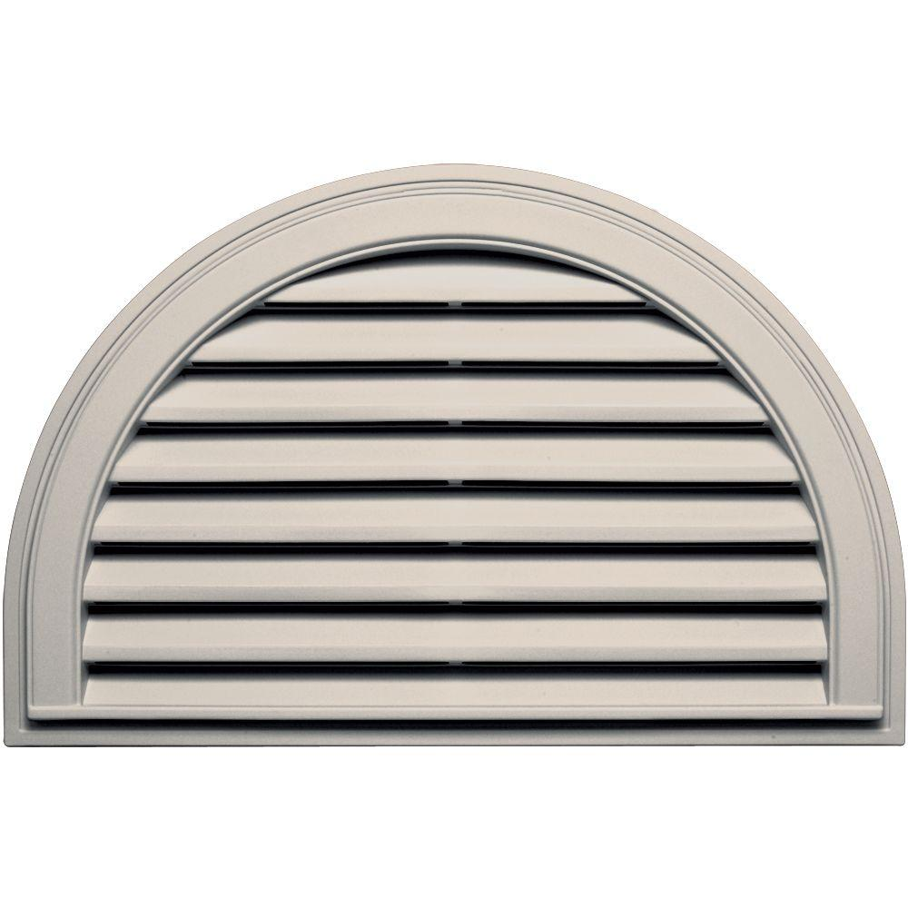 Builders Edge 22 in. x 34 in. Half Round Gable Vent in Almond