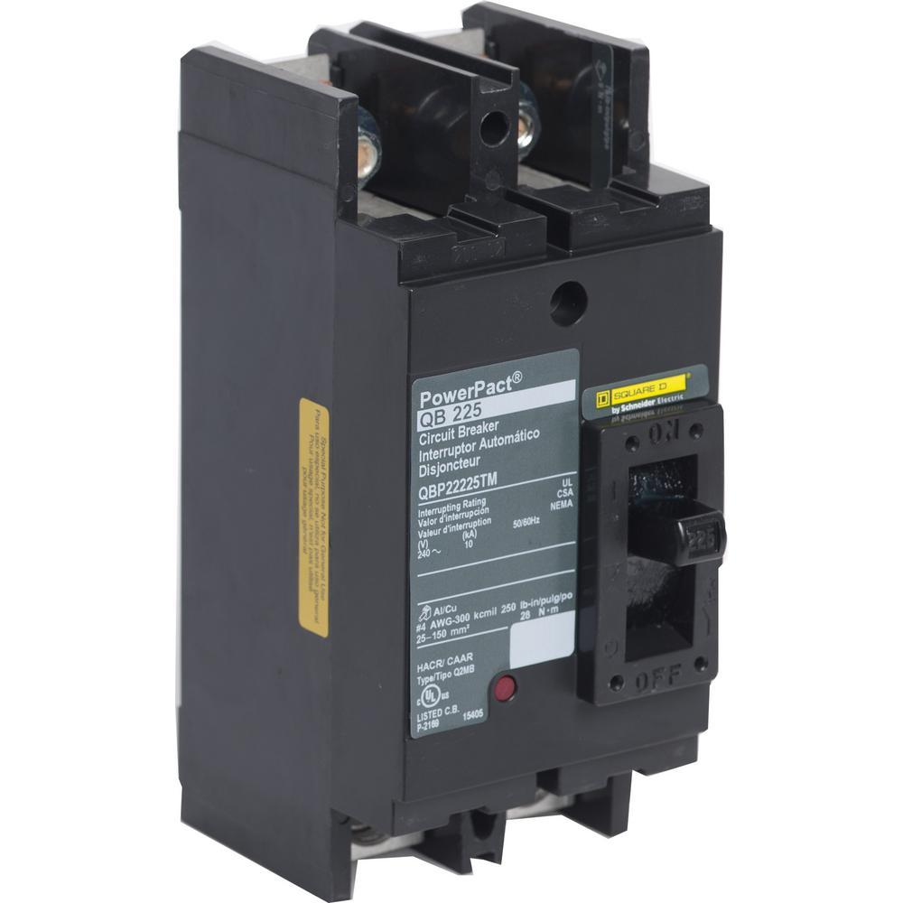 PowerPact 225 Amp 10kA 2-Pole Q-Frame Molded Case Circuit Breaker