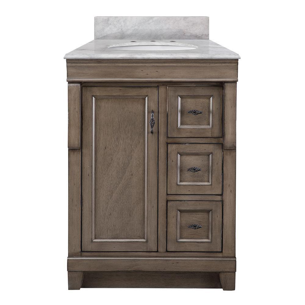 foremost naples 25 in w x 22 in d bath vanity in distressed grey marble vanity top in carrara