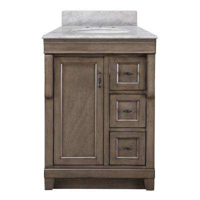 Naples 25 in. W x 22 in. D Bath Vanity in Distressed Grey Marble Vanity Top in Carrara White