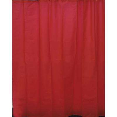 Eva 71 in. x 79 in. Red Solid Bath Shower Curtain