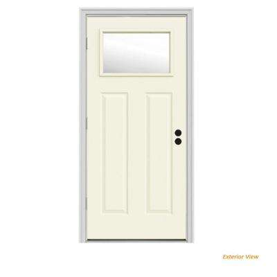 34 in. x 80 in. 1 Lite Craftsman Vanilla Painted Steel Prehung Right-Hand Outswing Front Door w/Brickmould
