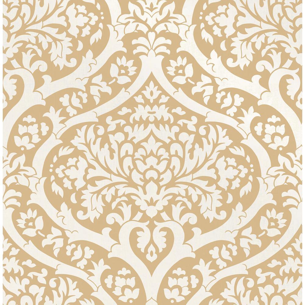 Fine Decor Sandringham Mustard Damask Wallpaper Sample 2900