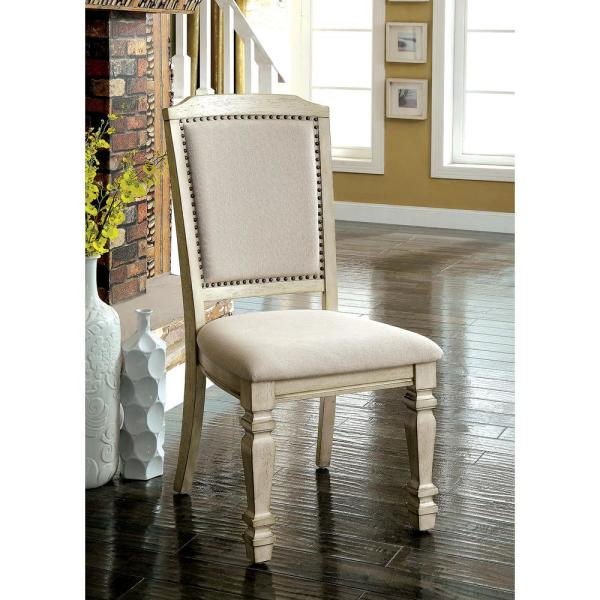 HOLCROFT Antique White and Ivory Transitional Style Side Chair CM3600SC-2PK