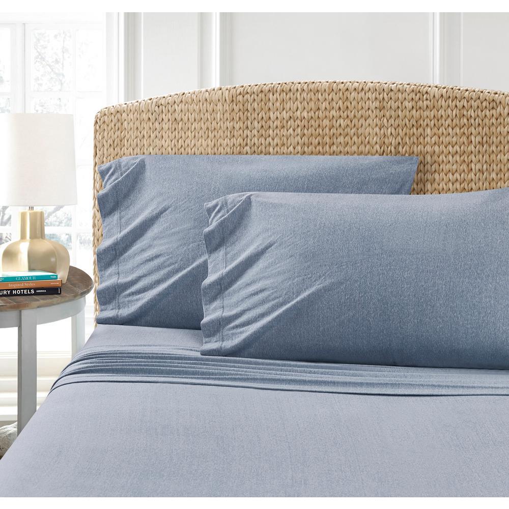 MHF Home Cotton Blend Blue Jersey  Twin Sheet Set