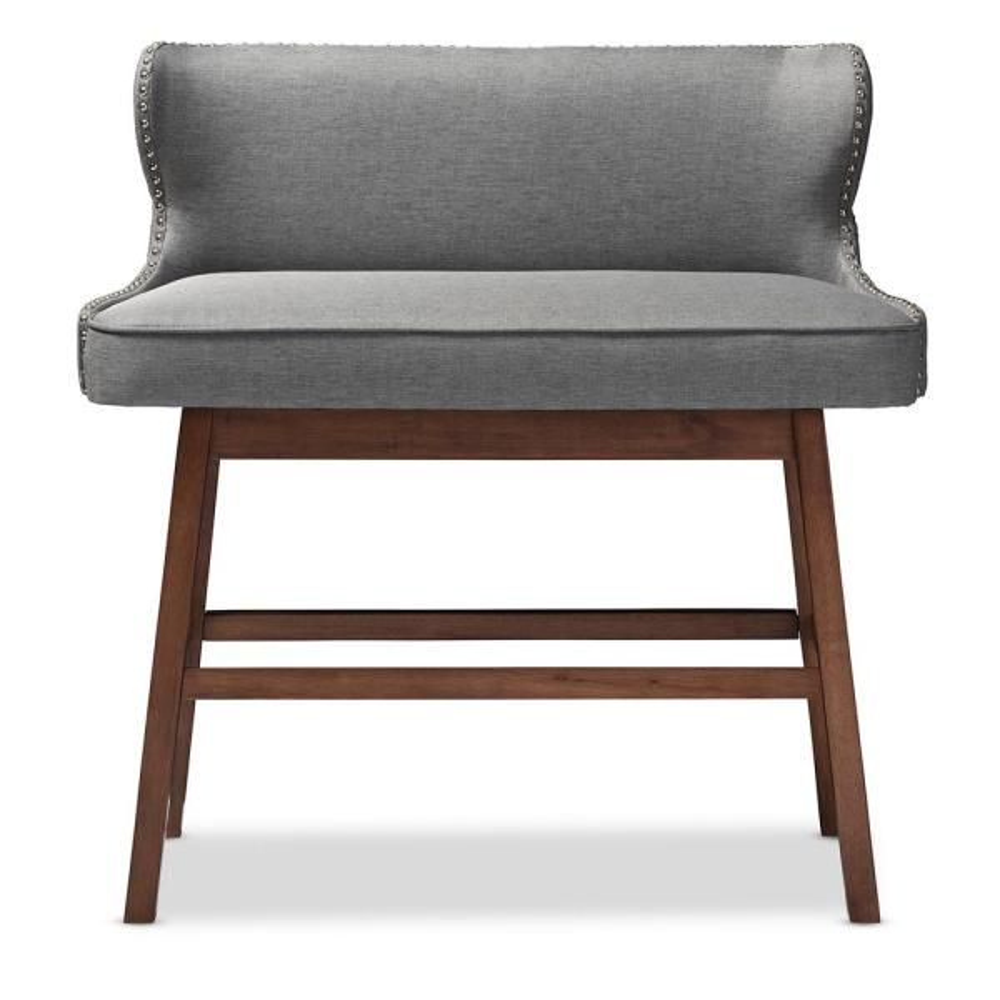 Baxton Studio Gradisca Gray Fabric Upholstered Bar Bench