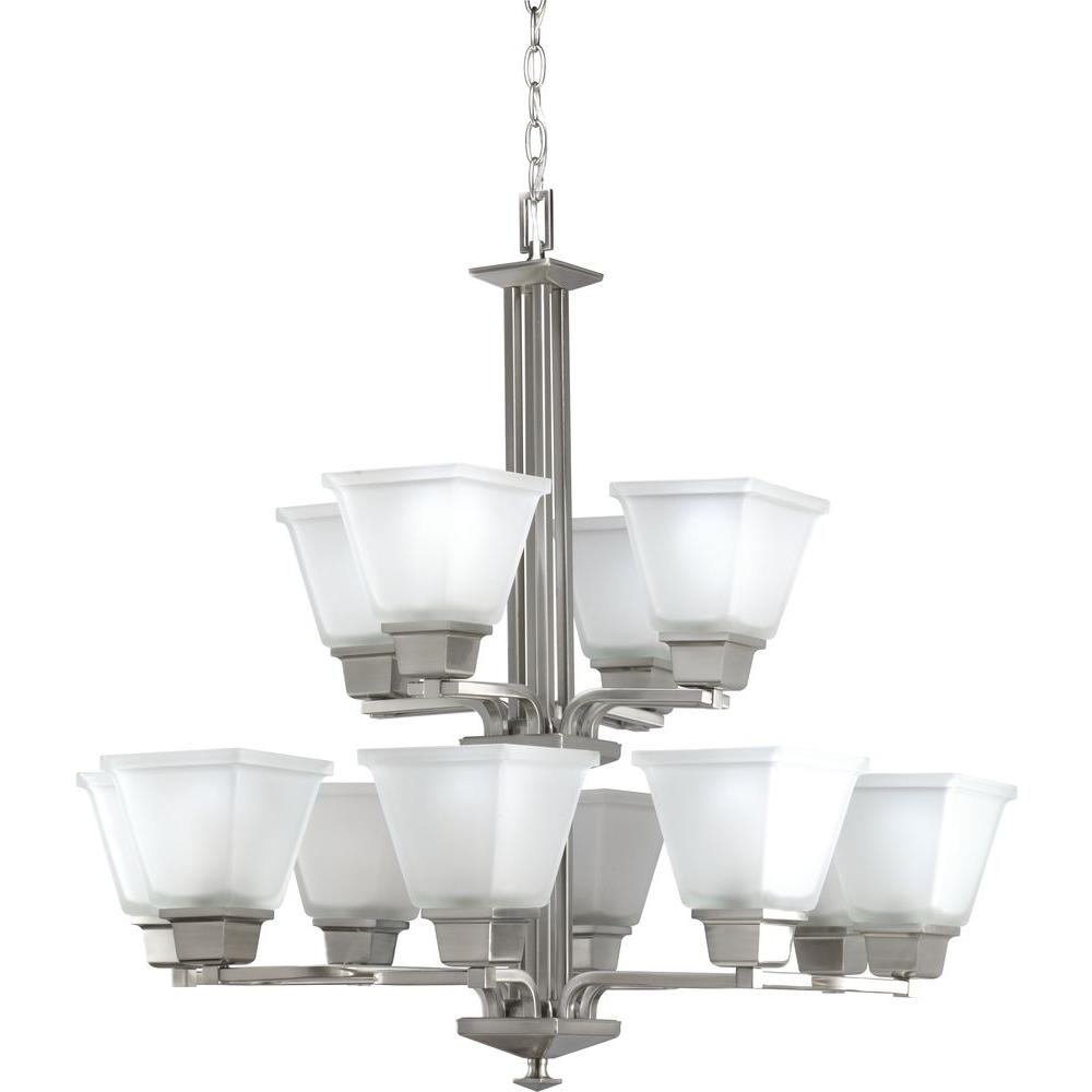 North Park Collection 12-Light Brushed Nickel Chandelier with Etched Glass Shade