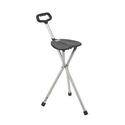 Lightweight Folding Cane with Seat in Silver