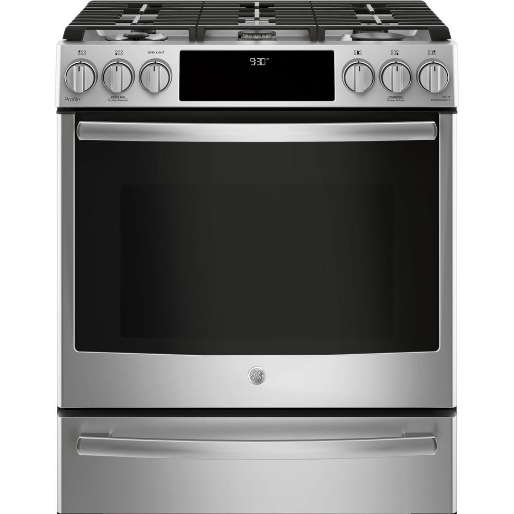 GE Profile 5.6 cu. ft. Smart Slide-In Dual Fuel Range with Self-Cleaning and Convection Oven in Stainless Steel