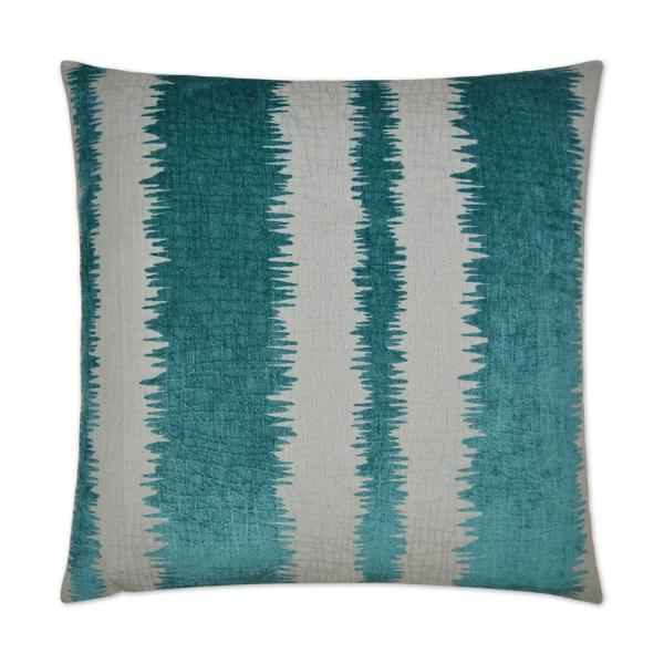 Kamitra Aqua Stripes Down 24 in. x 24 in. Throw Pillow