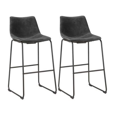 Classic 39 in. Charcoal Gray Faux Leather Bar Stool (Set of 2)