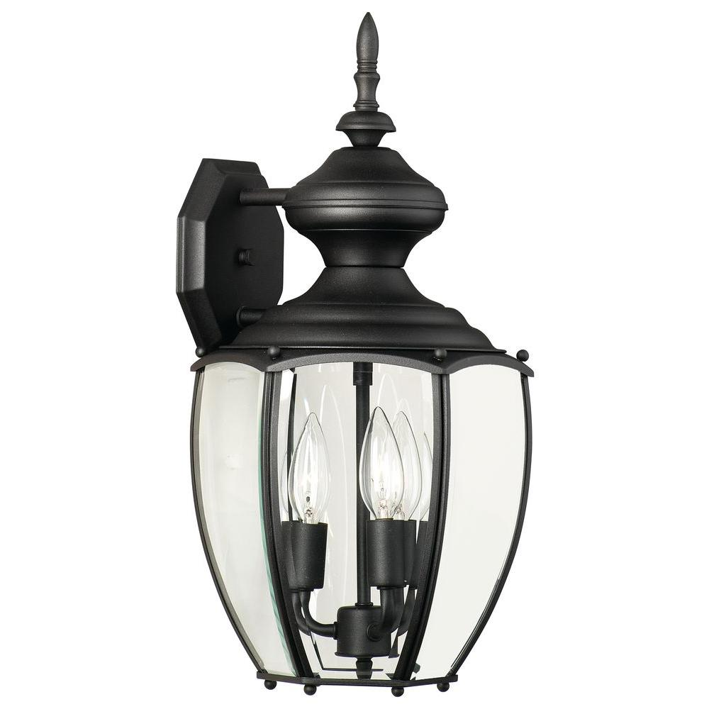 Thomas Lighting Park Avenue Wall-Mount 3-Light Outdoor Black Lantern-DISCONTINUED