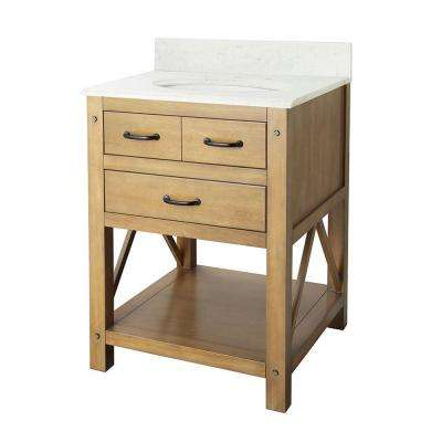Avondale 25 in. Vanity in Weathered Pine with Marble Vanity Top in Carrara Marble