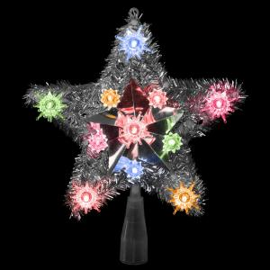 9 in. Lighted Silver Tinsel Star Christmas Tree Topper in Multi-Lights