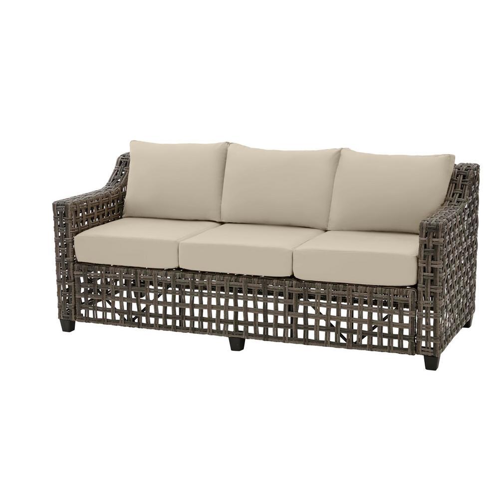 Hampton Bay Briar Ridge Brown Wicker Outdoor Patio Sofa with CushionGuard  Putty Tan Cushions