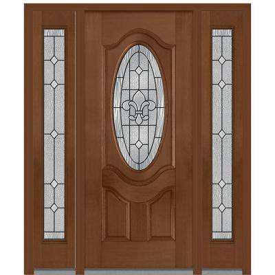 60 in. x 80 in. Carrollton Left-Hand Oval Lite Decorative Stained Fiberglass Mahogany Prehung Front Door with Sidelites