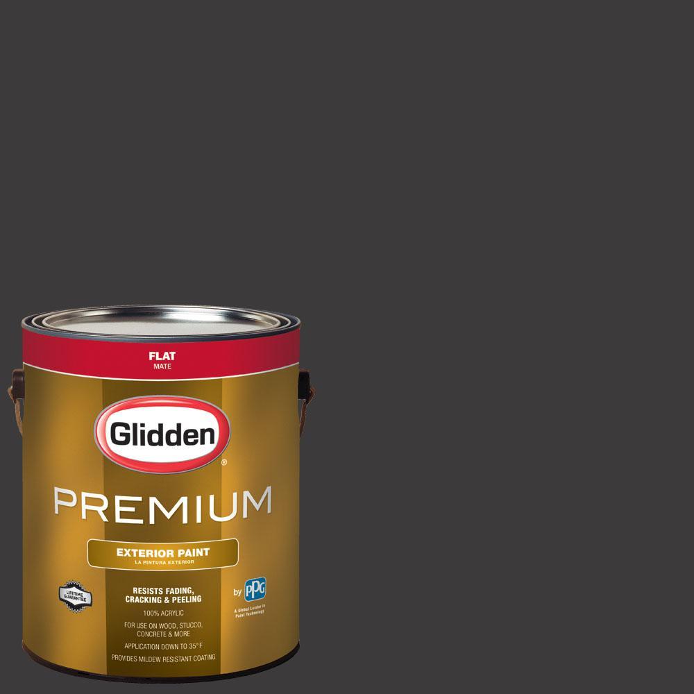 Glidden Premium 1 gal. #NHL-008C Colorado Avalanche Black Flat Exterior Paint