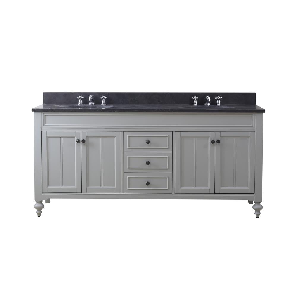 Potenza 72 in. W x 33 in. H Vanity in Earl Grey with Granite Vanity Top in Blue Limestone with White Basins