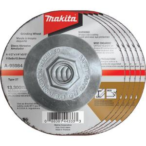 Makita 4-1/2 inch x 1/4 inch x 5/8 inch 36-Grit INOX Grinding Wheel (5-Pack) for use with 4-1/2 inch angle grinders by Makita