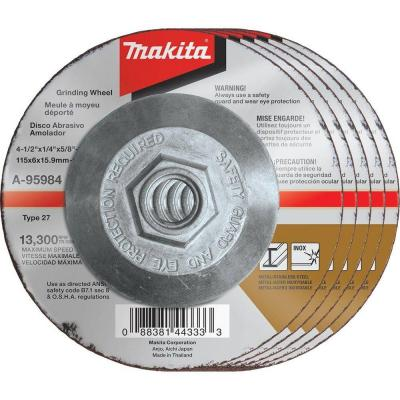 4-1/2 in. x 1/4 in. x 5/8 in. 36-Grit INOX Grinding Wheel (5-Pack) for use with 4-1/2 in. angle grinders