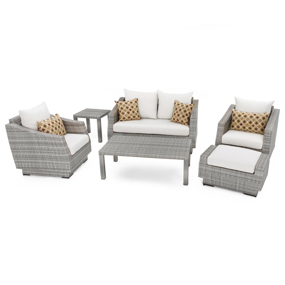 Cannes 6-Piece Loveseat Patio Deep Seating Set with Moroccan Cream Cushions
