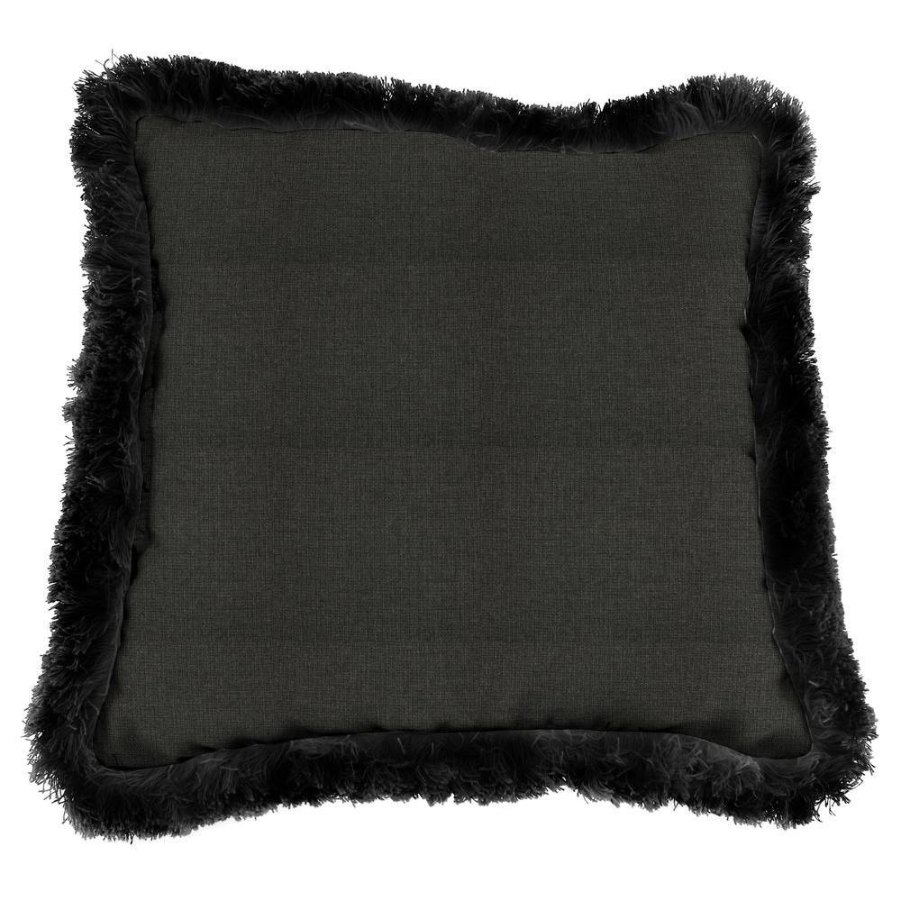 Jordan Manufacturing Sunbrella Spectrum Carbon Square Outdoor Throw Pillow with Black Fringe