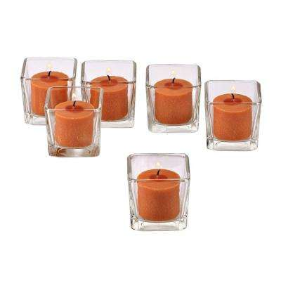Clear Glass Square Votive Candle Holders with Orange Votive Candles (Set of 12)