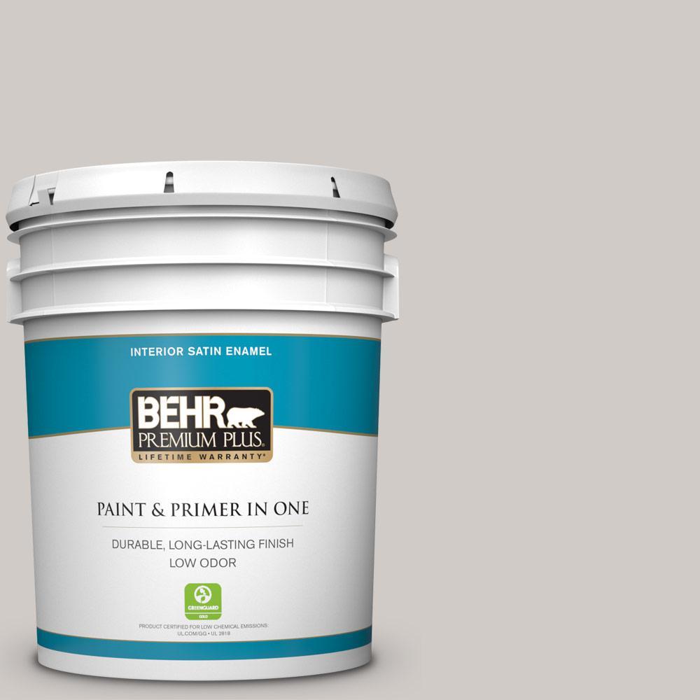 Behr Premium Plus 1 Gal Home Decorators Collection Hdc Nt 20 Cotton Grey Satin Enamel Low Odor Interior Paint Primer 705001 The Home Depot
