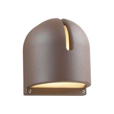1-Light Outdoor Bronze Wall Sconce with Frost Glass